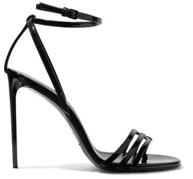 Amber Patent-leather Sandals - Black