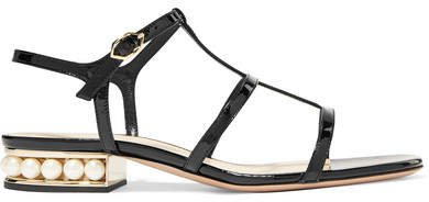 Casati Embellished Patent-leather Sandals - Black