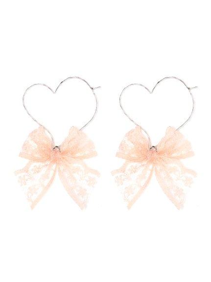Metal Heart Race Ribbon Earrings (Accessories / Pierce) | Mail Order of BUBBLES (Bubbles) | Fashion Walker