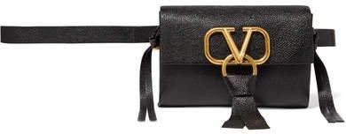 Garavani Vring Textured-leather Belt Bag - Black