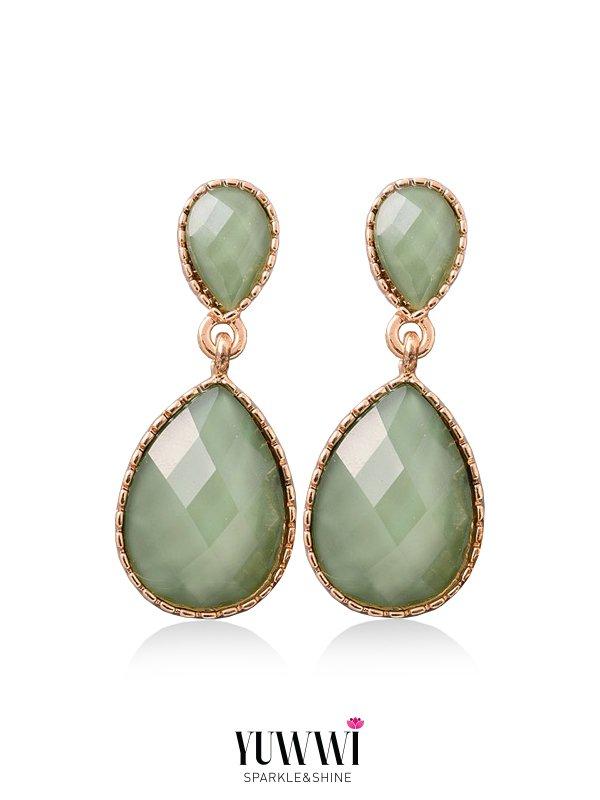 Olive green statement earrings - YUWWI