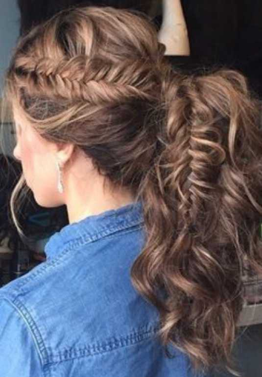 Curly hair in a ponytail