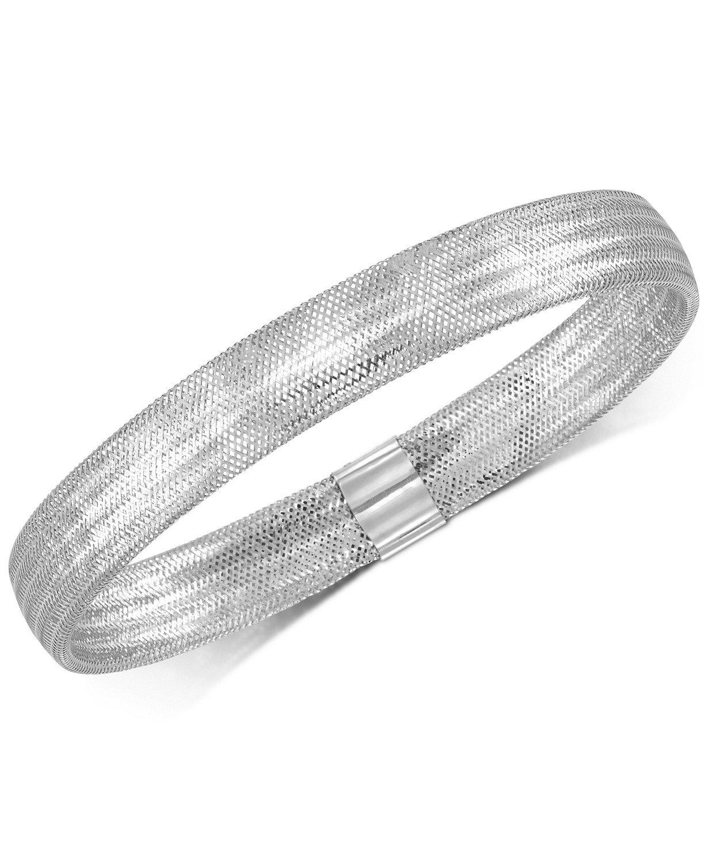 Italian 14k White Gold Stretch Bangle Bracelet