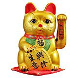 Battery Operated Feng Shui Lucky Cat Gold with Waving Arm, 5-Inches (High), White: Amazon.com: Grocery & Gourmet Food