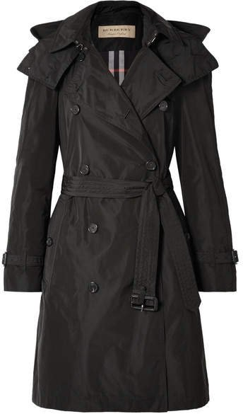 The Amberford Hooded Shell Trench Coat - Black