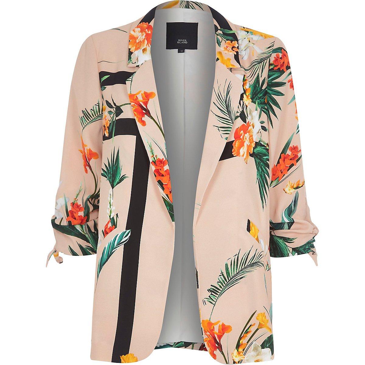 Light pink tropical ruched sleeve blazer - Blazers - Coats & Jackets - women