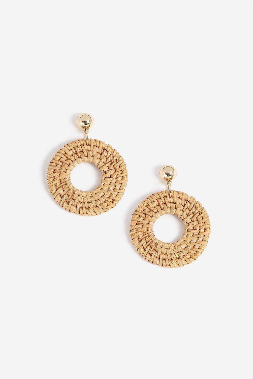 **Raffia Hoop Drop Earrings - Jewellery - Bags & Accessories - Topshop