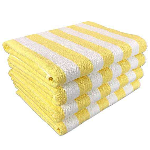 """Amazon.com: California Cabana Striped Oversized Beach Towel   Set of Four Extra Large 30"""" x 70""""   100% Ringspun Cotton Double Yarn Strength   Perfect Pool Towel, Beach Towel, Bath Towel- by Arkwright (Yellow): Home & Kitchen"""