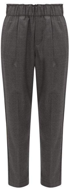 Cropped Wool Tapered Trousers - Womens - Dark Grey