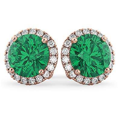 earring emerald circle