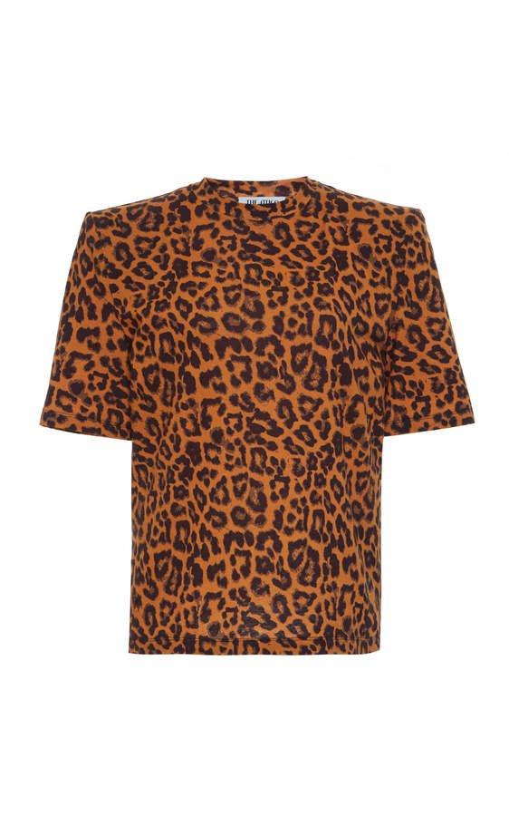 Leopard Crewneck Cotton T-Shirt Size: 42