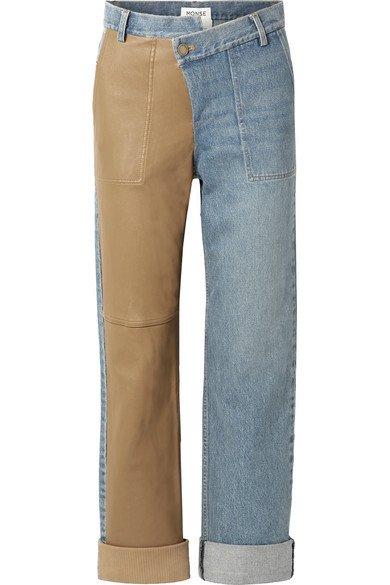 Monse | Leather-paneled mid-rise straight-leg jeans | NET-A-PORTER.COM