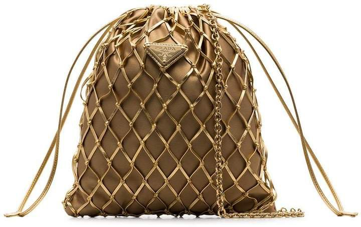 gold-tone metallic woven leather and satin pouch