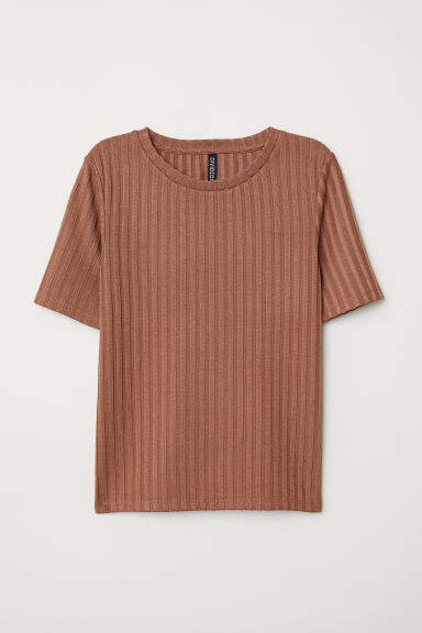Ribbed T-shirt - Beige