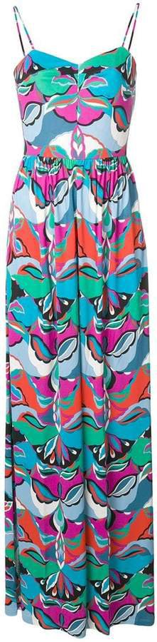printed fitted waist maxi jumpsuit