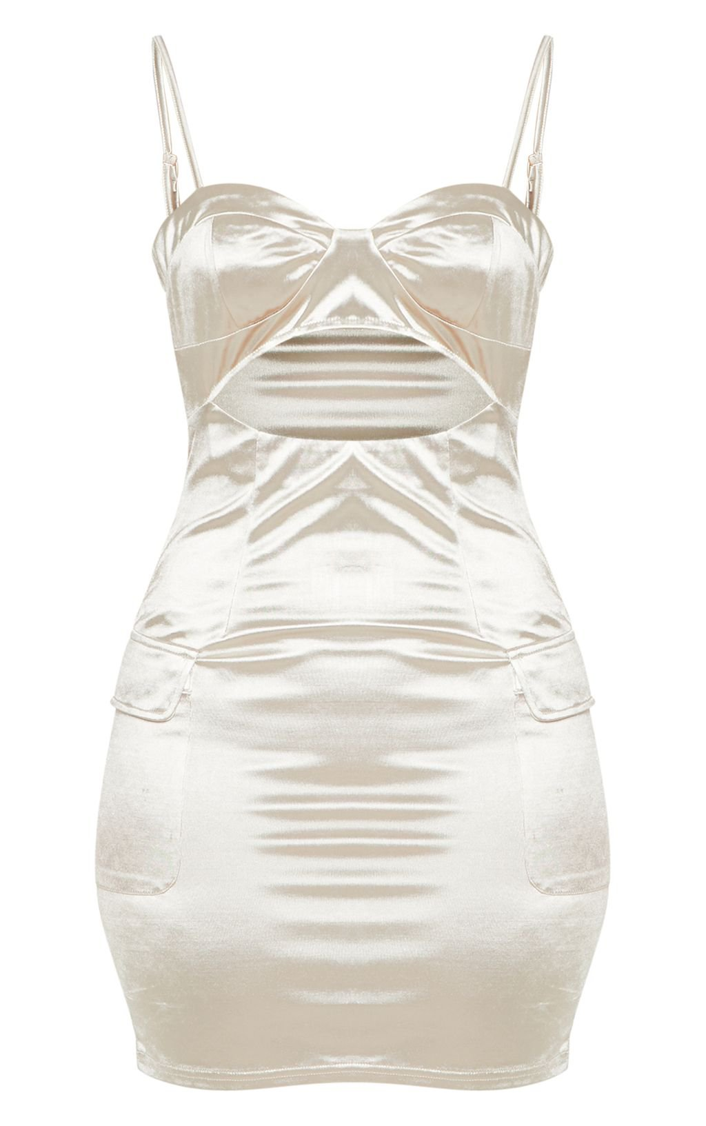 Champagne Satin Bodycon Dress | Dresses | PrettyLittleThing USA