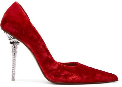 Eiffel Tower Velvet Pumps - Womens - Red