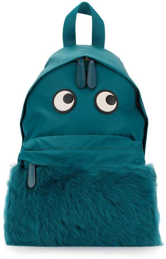 eye shearling backpack