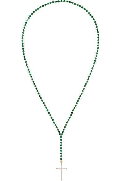 Diane Kordas | 18-karat rose gold, diamond and malachite necklace | NET-A-PORTER.COM