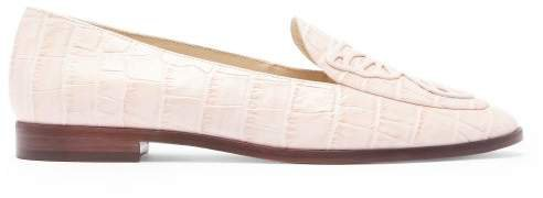 Butterfly Crocodile Effect Leather Loafers - Womens - Light Pink