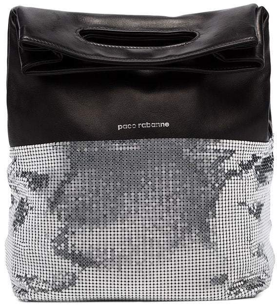 black and silver folding leather clutch bag