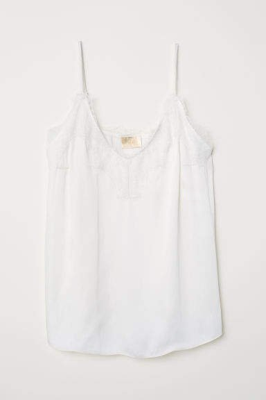 Satin and Lace Camisole Top - White