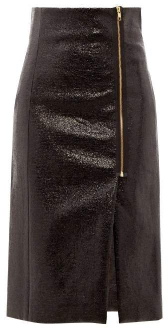 Zipped Cracked Vinyl Pencil Skirt - Womens - Black