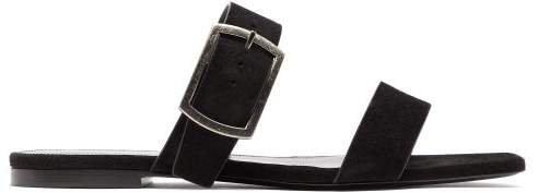 Oak Buckled Suede Sandals - Womens - Black