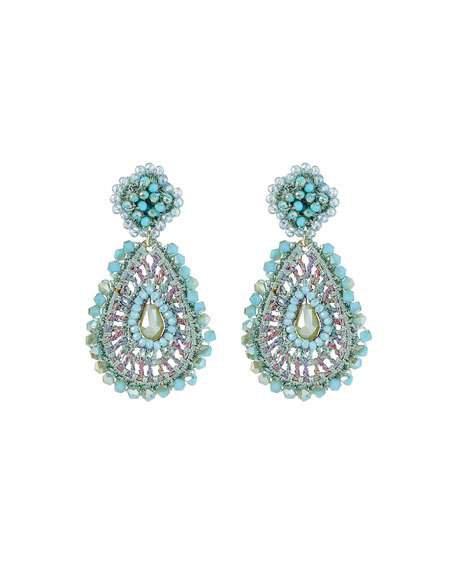 Capri Colette Crochet Beaded-Drop Earrings, Turquoise