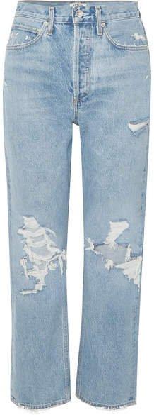 AGOLDE - '90s Distressed High-rise Boyfriend Jeans - Mid denim