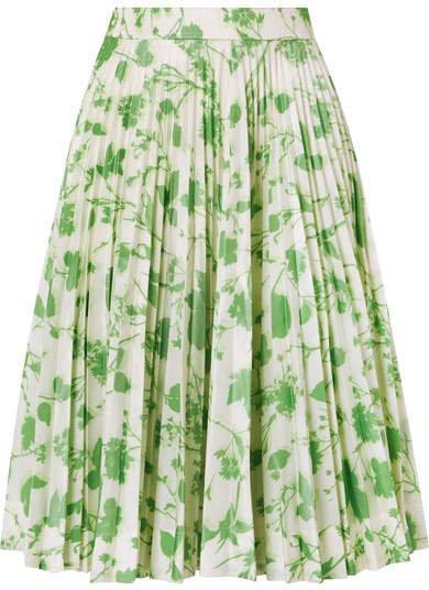 Pleated Printed Taffeta Skirt - Green
