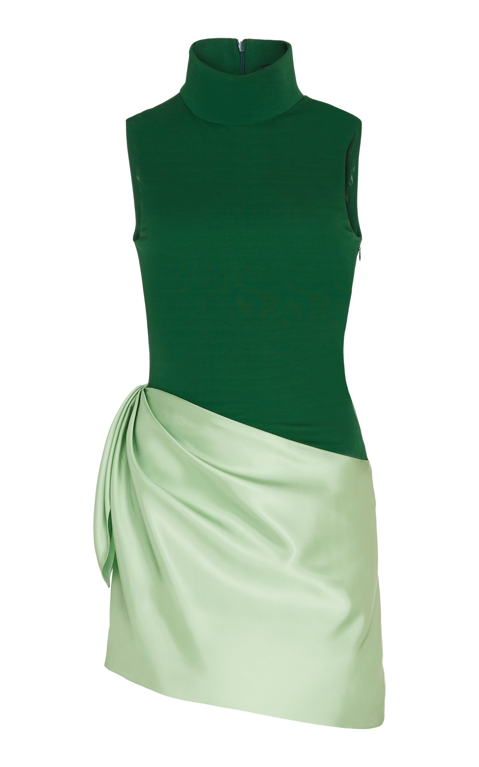 Brandon Maxwell Two-Tone Jersey-Satin Mini Dress Size: 0