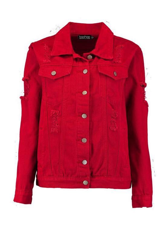 Distressed Oversize Denim Jacket | Boohoo
