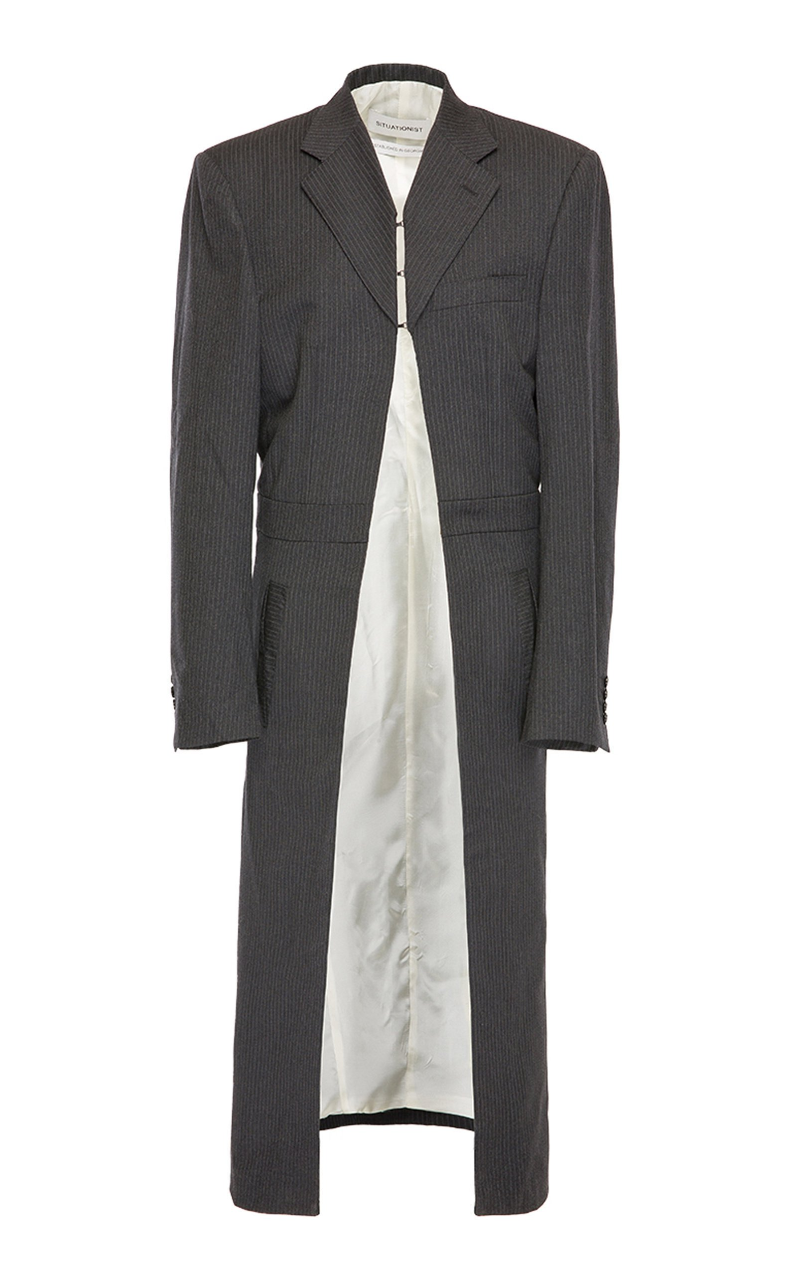 SITUATIONIST Classic Striped Wool Coat