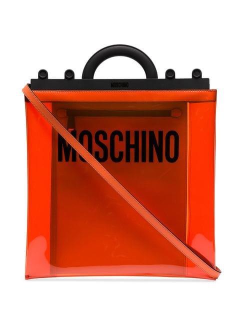 Moschino orange logo print PVC shoulder bag