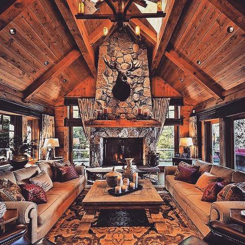 Log cabin living room shared by Shorena Ratiani