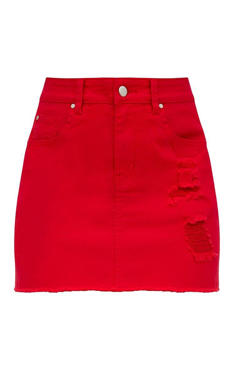 Red Distressed Denim Mini Skirt | Denim | PrettyLittleThing
