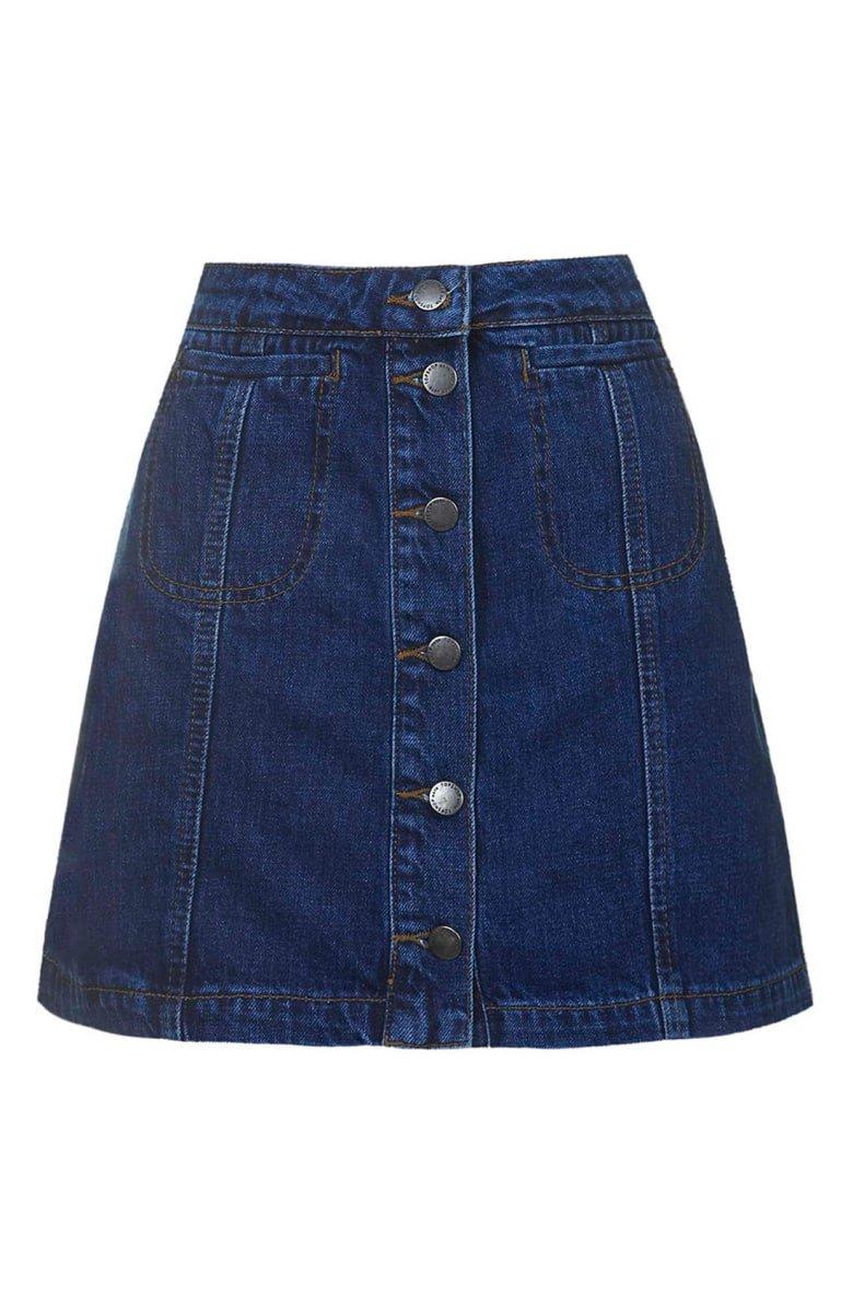 TopshopButton Front Denim Skirt | Nordstrom