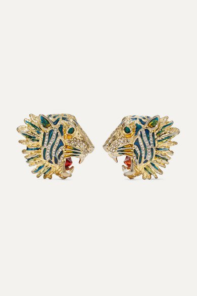 Gucci | Gold-plated, crystal and enamel earrings | NET-A-PORTER.COM