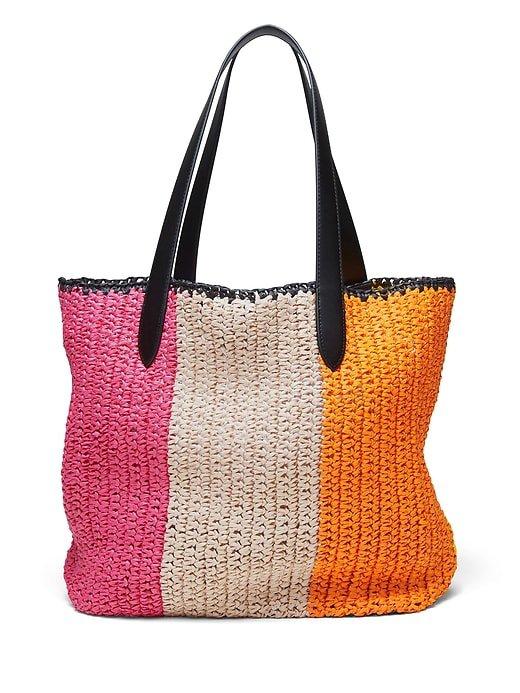 Rainbow Straw Tote Bag | Banana Republic pink