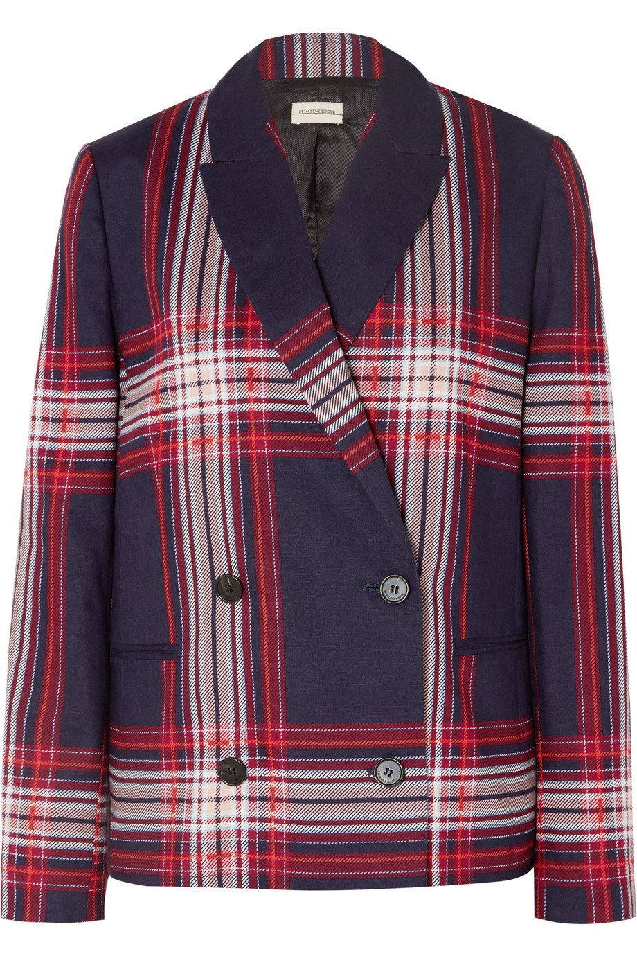 By Malene Birger | Rivali double-breasted checked linen and cotton-blend blazer | NET-A-PORTER.COM