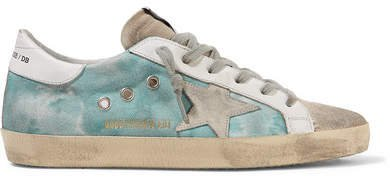 Superstar Distressed Tie-dyed Distressed Canvas, Leather And Suede Sneakers - Blue