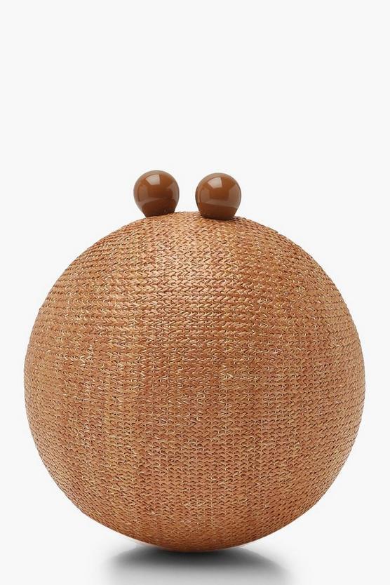 Straw Sphere Clutch Bag | Boohoo