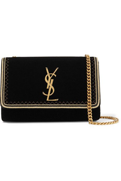 Saint Laurent | Monogramme Kate small Lurex-trimmed velvet shoulder bag | NET-A-PORTER.COM