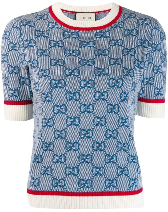 GG logo print knitted top