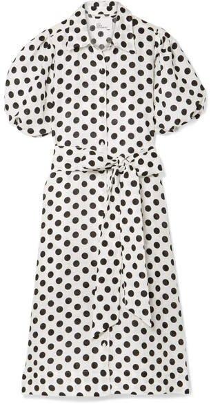 Polka-dot Linen Midi Dress - White