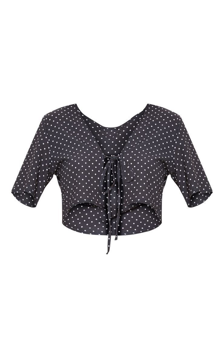 Black Polka Dot Tie Front Short Sleeve Blouse | PrettyLittleThing