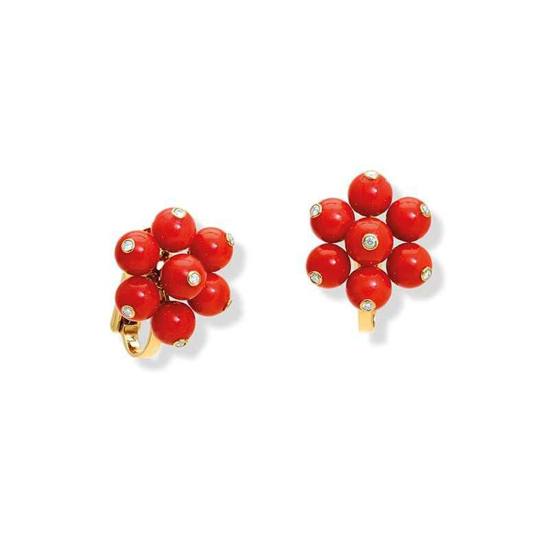 Cavolfiore Red Orange Coral and Diamond Yellow Gold Ear Studs