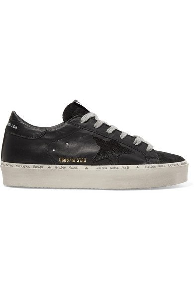 Golden Goose   Hi Star suede-trimmed distressed leather sneakers   NET-A-PORTER.COM