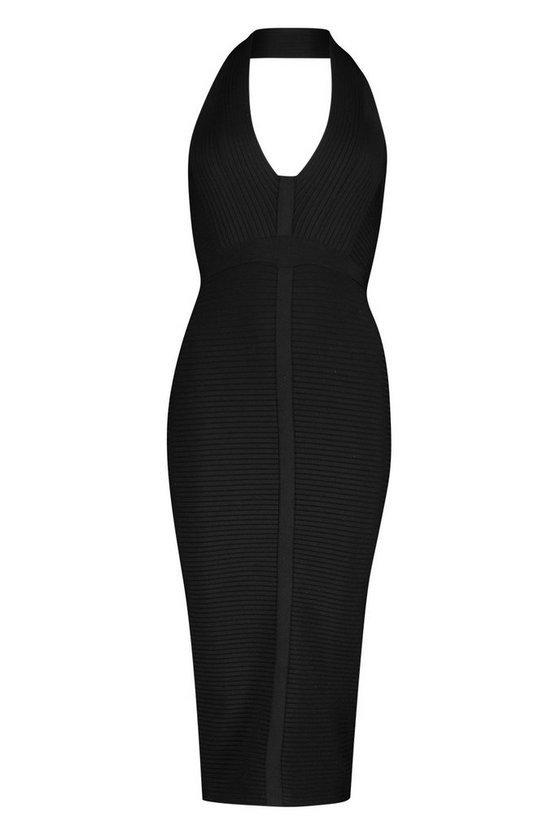 Boutique Bandage Plunge Midi Dress Black | Boohoo